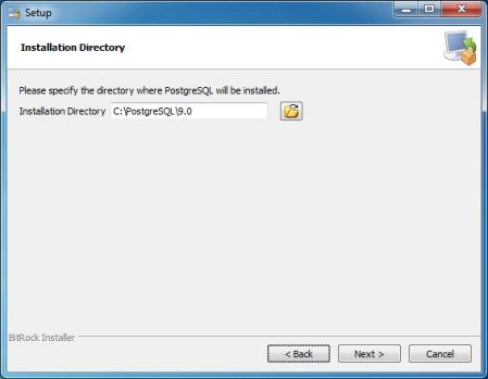 PostgreSQL installation directory (C:\PostgreSQL\9.0)